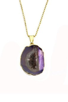 Brazi Druse Jewelry - Colare Agat Geoda Fiolet złoto