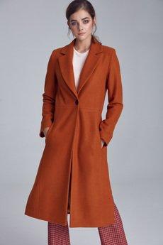 Nife - NIFE Damski płaszcz jednorzędowy (PL07)