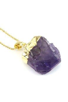 Brazi Druse Jewelry - Colare Ametyst Surowy złoto