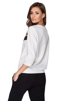 Bird - dzianinowa bluza z nadrukiem na dekolcie