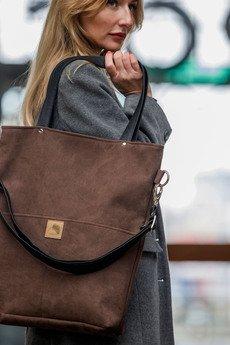 Karolina Audycka - Brązowa torba z zamszu ekologicznego