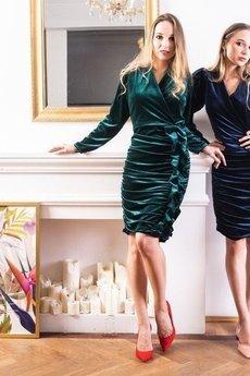 my image art - Welurowa sukienka mini MYDREAM szmaragdowa