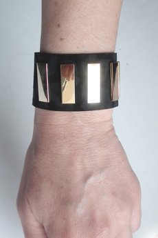 Mikashka - Bransoleta skórzana czarna panterka złoto