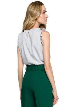 Style - Bluzka bez rękawów z falbankami S132