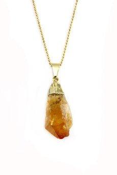 Brazi Druse Jewelry - Colare Cytryn Surowy Pomarańczowy złoto