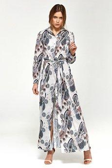 Nife - NIFE Wzorzysta sukienka maxi długi rękaw (S93)