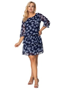 Bird - tiulowa sukienka z falbanami i gumką w pasie