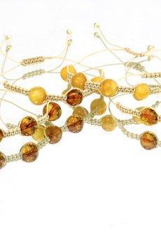 Brazi Druse Jewelry - Bransoletka Bursztyn Sznurek złoto