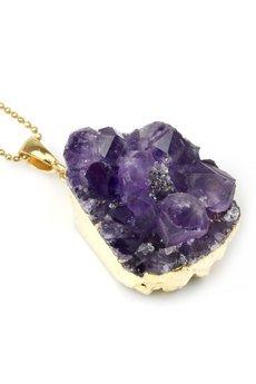 Brazi Druse Jewelry - Colare Ametyst Szczotka Średnia złoto