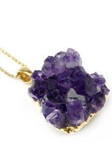 Brazi Druse Jewelry - Colare Ametyst Szczotka Mała złoto