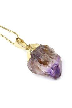 Brazi Druse Jewelry - Colare Ametyst Surowy Inkluzje złoto