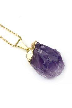 Brazi Druse Jewelry - Colare Ametyst Bryłka złoto