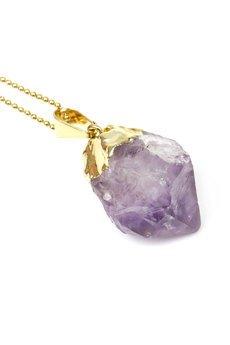 Brazi Druse Jewelry - Colare Ametyst Surowy Jasny złoto