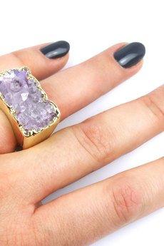 Brazi Druse Jewelry - InspiRING Agat Wrzosowy 3/4 złoto rozmiar 13