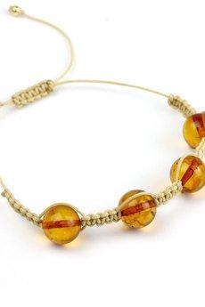 Brazi Druse Jewelry - Bransoletka Bursztyn Koniakowy Sznurek złoto
