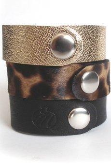 Mikashka - Komplet trzech bransoletek skórzanych panterka