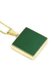 Brazi Druse Jewelry - Colare Kwarc Zielony Kwadrat złoto