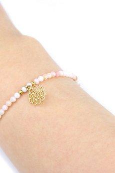 Brazi Druse Jewelry - Bransoletka Opal Różowy Mandala złoto