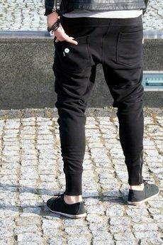 Button - SPODNIE DŁUGIE LONG 2 PANTS - czarne z zamkami