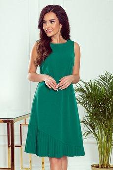 numoco - 308-1 KARIN trapezowa sukienka z asymtryczną plisą