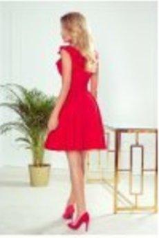 numoco - 307-1 POLA sukienka z falbankami na dekolcie