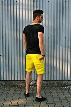 Button - SHORT PANTS żółty neon dresowe spodenki szorty