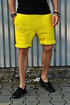 Button - SHORT PANTS 2 BUTTONS żółte szorty dres