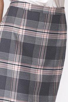 Nife - NIFE Szara ołówkowa spódnica w kratę (SP48)