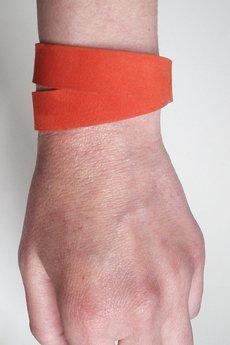 Mikashka - Bransoletka skórzana zamsz czerwień oranż owijana