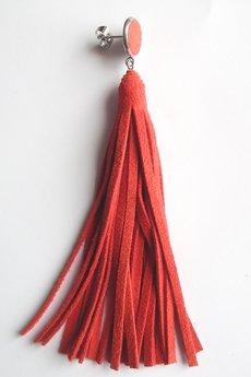 Mikashka - Kolczyki skórzane zamszowe czerwień oranżowa