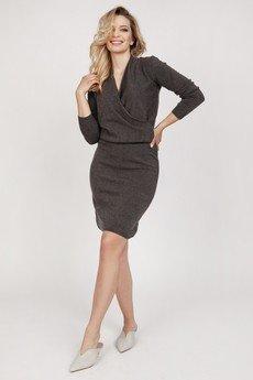 MKM swetry - Dzianinowa sukienka - SUK009 grafit MKM