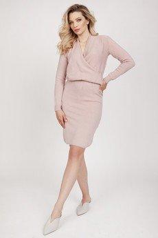 MKM swetry - Dzianinowa sukienka - SUK009 pastelowy róż MKM