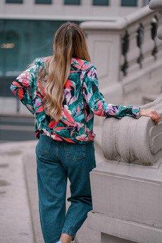 ekoszale - bluza bomberka w akwarelowe kwiaty