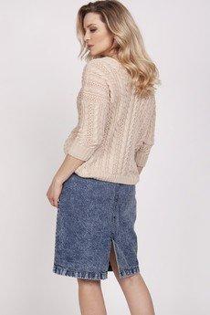 MKM swetry - Sweter ozdobiony warkoczami - SWE213 beż MKM