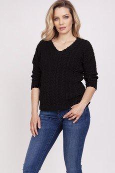 MKM swetry - Sweter ozdobiony warkoczami - SWE213 czarny MKM