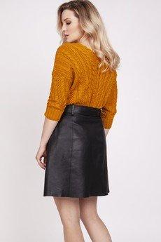 MKM swetry - Sweter ozdobiony warkoczami - SWE213 saffron MKM