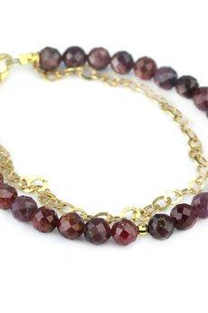 Brazi Druse Jewelry - Bransoletka Granat z Łańcuszkiem złoto