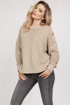 MKM swetry - Luźny sweter - SWE223 beż MKM
