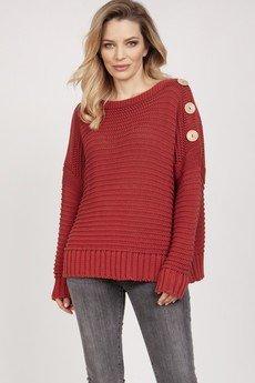 MKM swetry - Luźny sweter - SWE223 marsala MKM