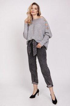 MKM swetry - Sweter z guzikami - SWE218 szary MKM