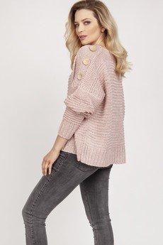 MKM swetry - Sweter z guzikami - SWE218 pastelowy róż MKM
