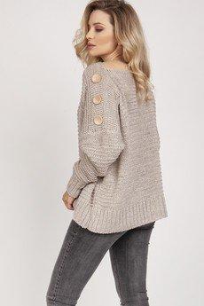 MKM swetry - Sweter z guzikami - SWE218 beż MKM
