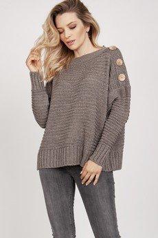 MKM swetry - Sweter z guzikami - SWE218 tabak MKM