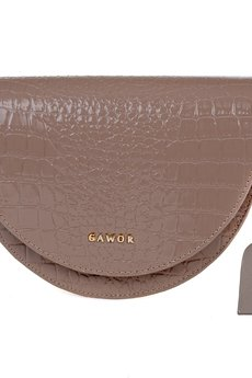 GAWOR - Skórzana torebka nerka cappucino krokodyl