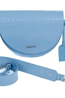 GAWOR - Skórzana torebka nerka baby blue krokodyl
