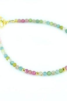 Brazi Druse Jewelry - Bransoletka Turmalin Błękitny i Różowy złoto