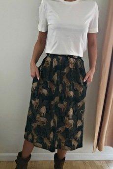 On You - Spódnica Tygrysy Midi Khaki