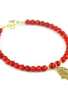 Brazi Druse Jewelry - Bransoletka Koral Czerwony Hamsa złoto