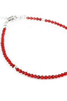 Brazi Druse Jewelry - Bransoletka Koral Czerwony Mini srebro