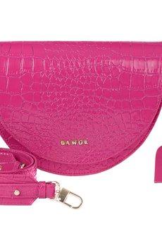 GAWOR - Skórzana torebka nerka róż krokodyl